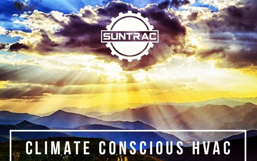 SunTrac Air Conditioning Systems over desert landscape background